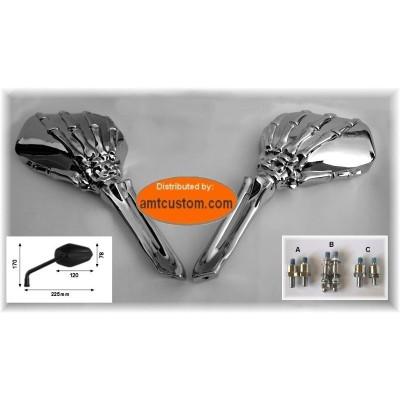 2 skeleton hand mirrors motorcycle Custom