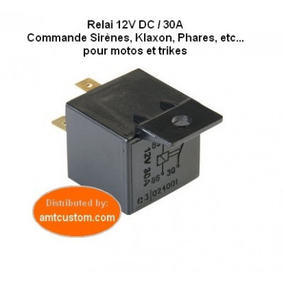 Switching relay 12V DC 30A self-serv pack motorcycles