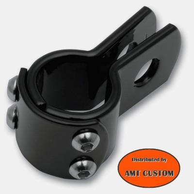 Attache universelle Noir - Collier Clamps noir 22, 25, 28, 32, 38mm moto custom harley HD