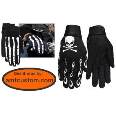 Skull flames gloves motorcyclesv harley trike custom biker