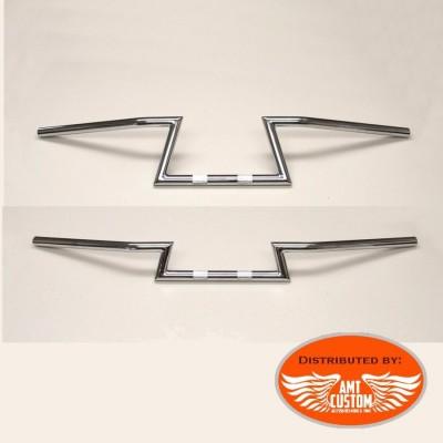 "Chrome Handlebar Z Bar 22mm 7/8"" motorcycle Custom"