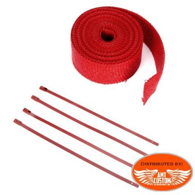 7m Kit bande thermique échappement Rouge