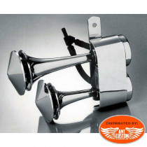 Klaxons Trompette Chrome moto custom
