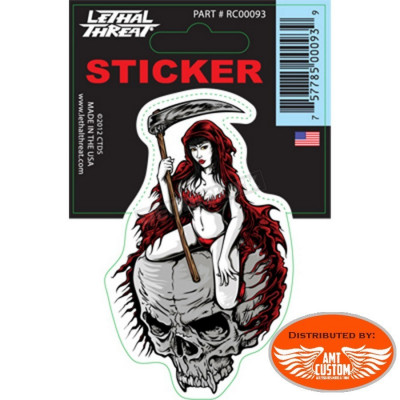 Sticker Reaper Girl Skull.