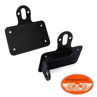 "Black Universal side mount license plate holder fit 20mm , 22mm (7/8"") et 25mm (1"") wheel axles"