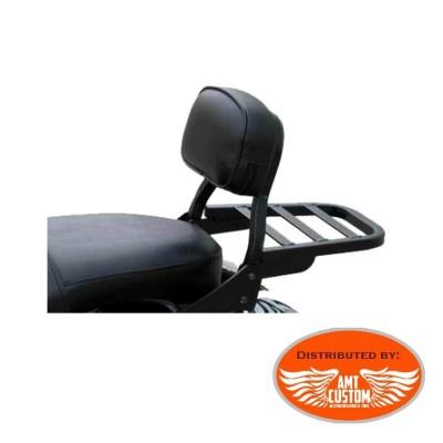 Sportster Sissy Bar Court Noir + Rack porte bagage pour Harley XL883 et XL1200