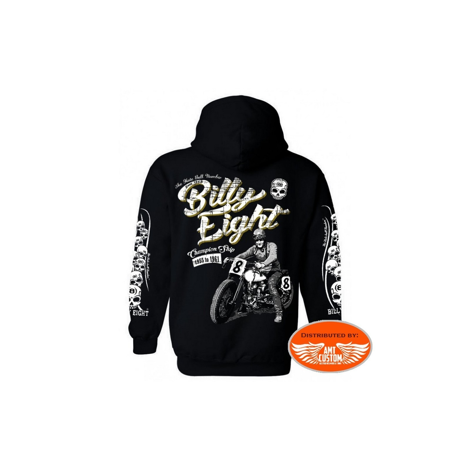 Veste capuche sweat biker Billy Eight Champion Ship