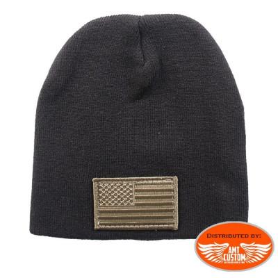 Woodland Camo American Flag Knit Hat