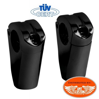 "Black Risers Set 2""1/2 (6,5cm) Hight for 1"" handlebars motocycles Harley Choppers Bobbers"