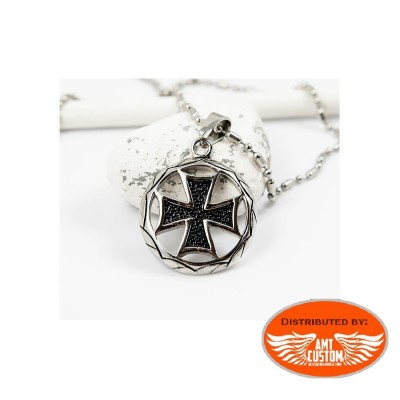 Biker maltese cross pendant stainless steel
