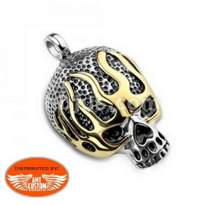 Pendant Biker live to ride chrome and gold motorcycle stainless steel