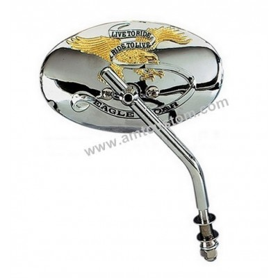 "Chrome and Gold Mirror Eagle ""Live To Ride"" Harley"