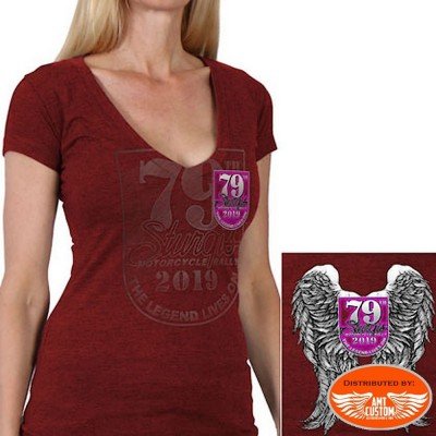 T-shirt Lady Rider sturgis motorcycle rouge
