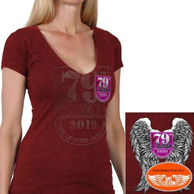 Red sturgis motorcycle tee shirt lady rider- angel wings