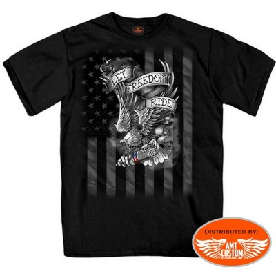 Black motorcycle biker tee shirt eagle and us flag