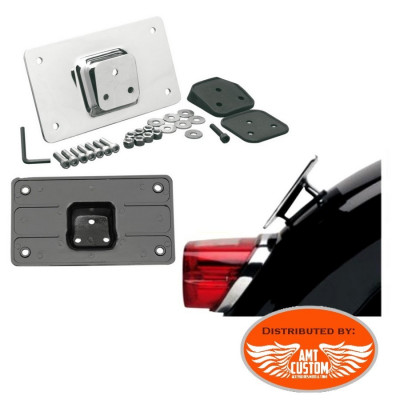 Support plaque immatriculation garde boue Moto Noir ou chrome