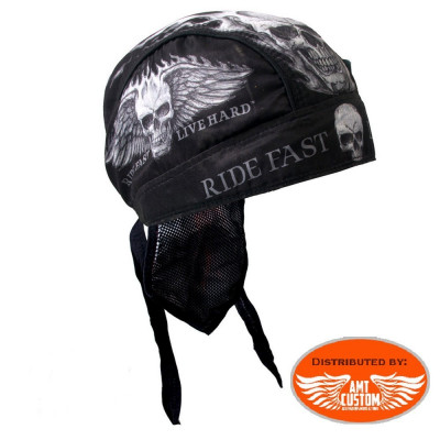 Zandana biker skull ailé