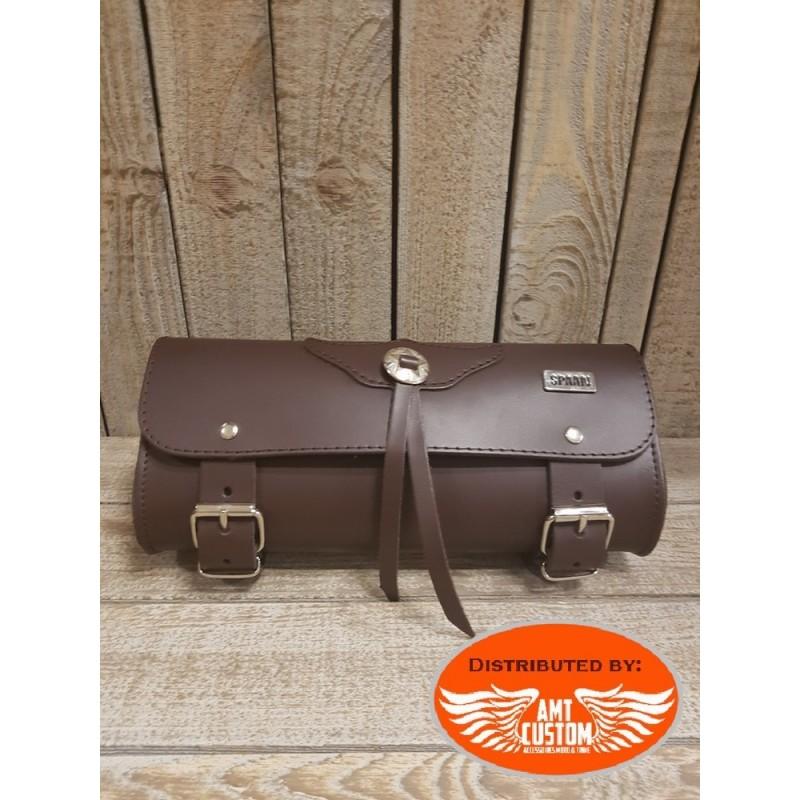 Sacoche fourche cuir marron - Trousse outils moto