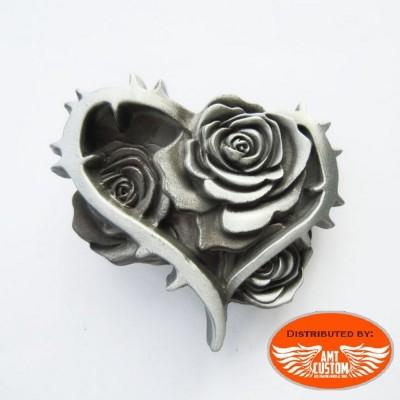 Boucle de ceinture coeur épine roses