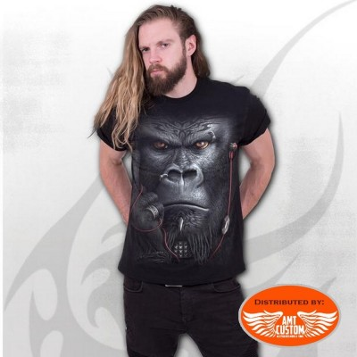 Gorilla and tatoo black biker t-shirt