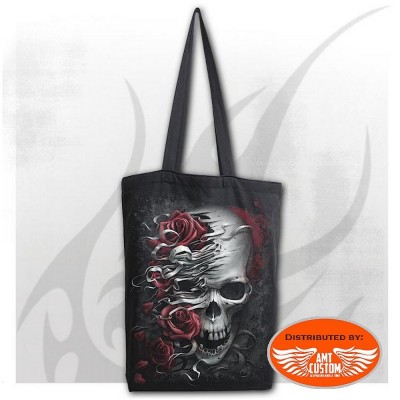Lady rider black bag skull and roses