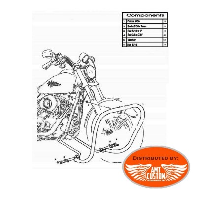Dyna Fat Engine guard 38mm for Harley chrome