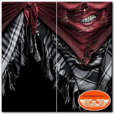 Foulard masque noir biker multifonctions skull torn bandit