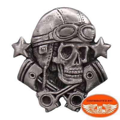 Pin's biker skull aviateur