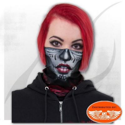 Foulard masque noir femme lady rider multifonctions roses sanglantes