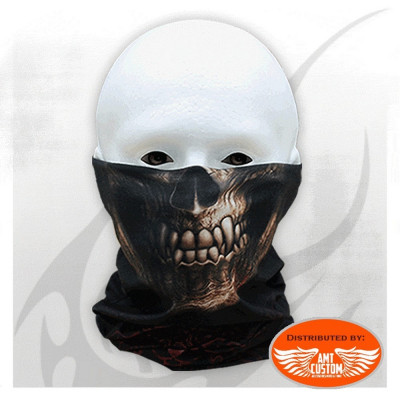 Foulard masque noir biker multifonction biker gothic tête de mort