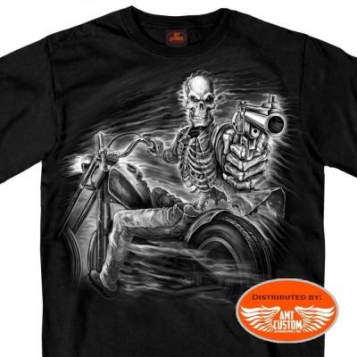 T-shirt noir biker ghost rider revolver