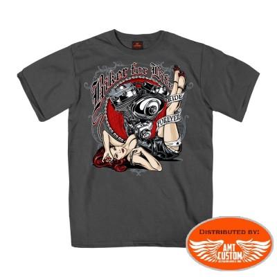 T-shirt gris Pin-Up V-Twin