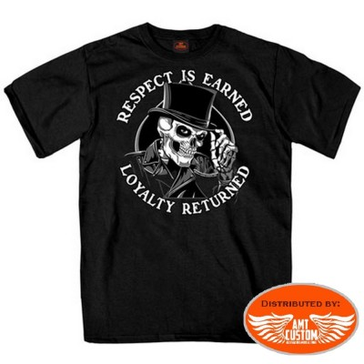 T-shirt noir biker  respect top hat