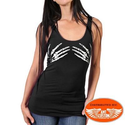 T-shirt débardeur mains squelettiques