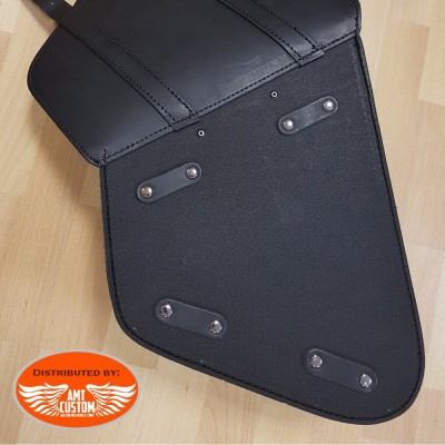Black Rear Swingarm Bag for Softail Harley Davidson, Suzuki & Yamaha