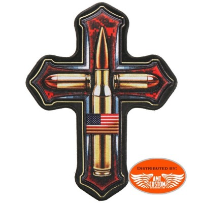 Cross patch with usa flag and bullets