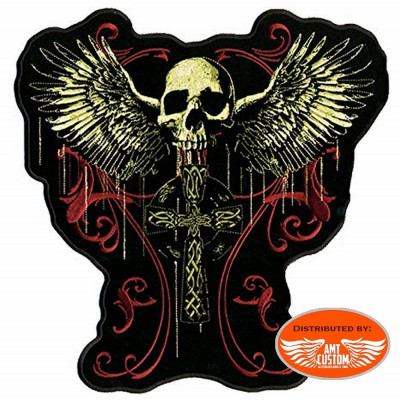 Winged skull and cross patch biker jacket vest