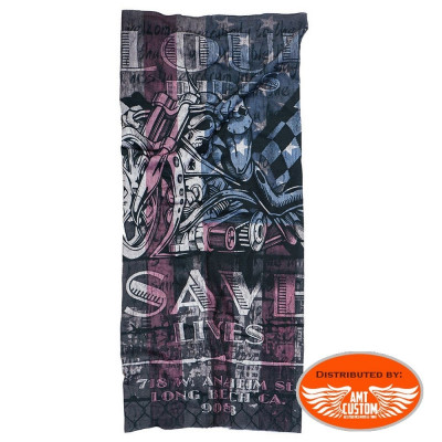 Foulard tube biker west coast choppers save lives moto squelette skull