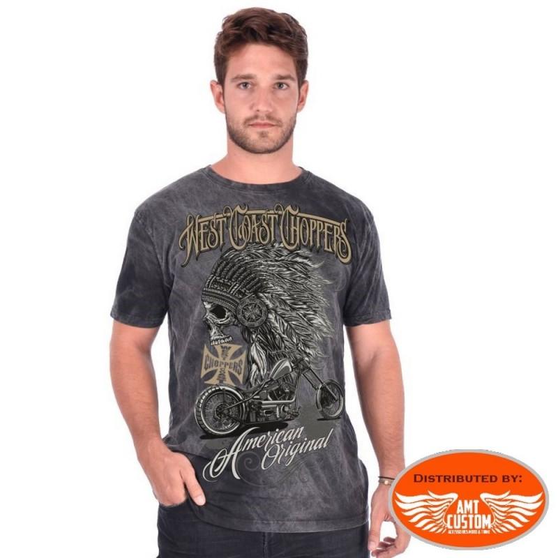 Tee-shirt homme biker gris west coast choppers indien et moto
