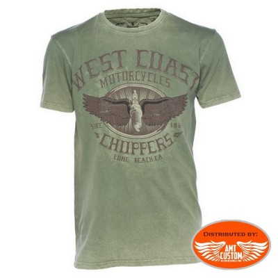 Tee-shirt West Coast Choppers wings logo retro green biker