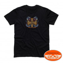 Black Tee-shirt West Coast Choppers skull motorcycle and snakes biker