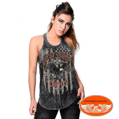 Grey lady rider tank top west coast choppers eagle