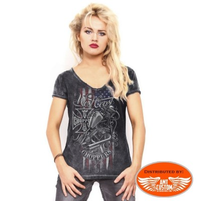 Tee-shirt femme gris west coast choppers drapeau us et moto