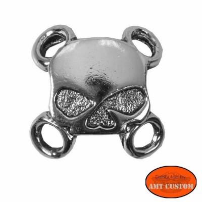 Attaches lacets Veste gilet cuir - Skull bones moto custom harley