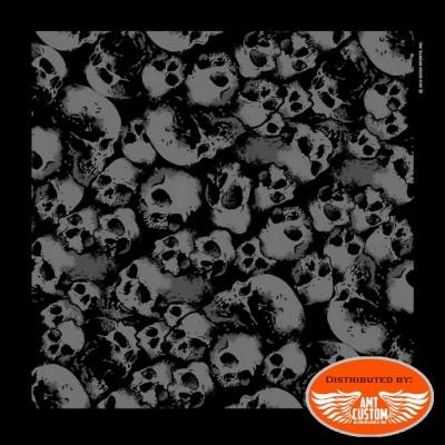 Bandana foulard biker noir têtes de mort