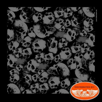 Skulls black scarf bandana biker