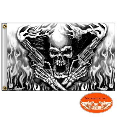 Drapeau Skull Enflammé Pistolets Moto Trike Harley Indian
