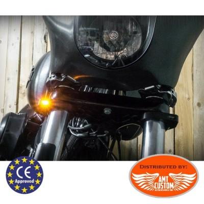 Micro clignotants noir Fourche Led pour Harley et autres Customs