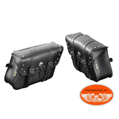 2 black real leather saddlebags with studs houston biker
