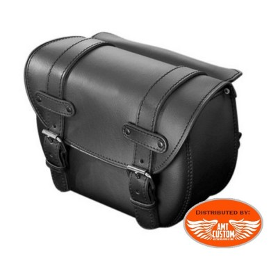 2 black tek leather saddlebags biker Economy